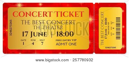 Ticket Template, Concert Ticket With Stars (tear-off Ticket Mockup) On Red Starry Glitter Background