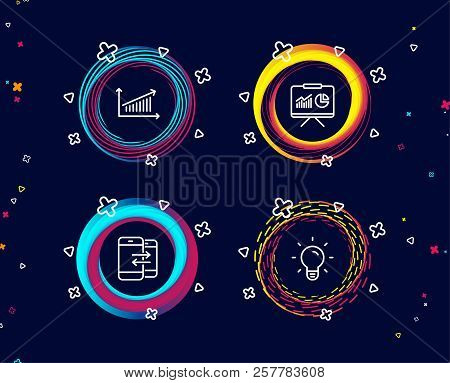 Set Of Presentation, Chart And Phone Communication Icons. Light Bulb Sign. Board With Charts, Presen