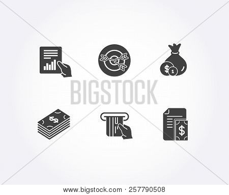 Set Of Credit Card, Cash And Dollar Icons. Document, Targeting And Payment Signs. Atm Payment, Banki