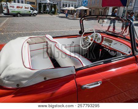 Vysoke Myto, Czech Republic - Sept. 09. 2018. White Leather Interior Of The Historic Cabrio Skoda Fe