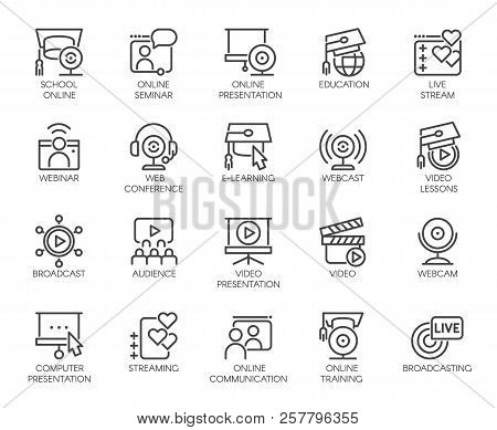 Line Icons Of Webinars, Online Education. Web Conferences, Remote Video Meetings. Modern Internet Te