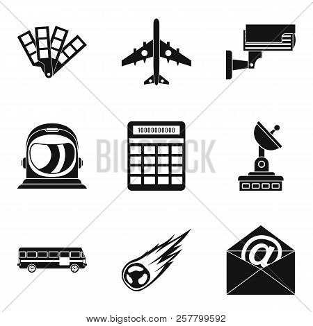 Geo Wireless Icons Set. Simple Set Of 9 Geo Wireless Icons For Web Isolated On White Background