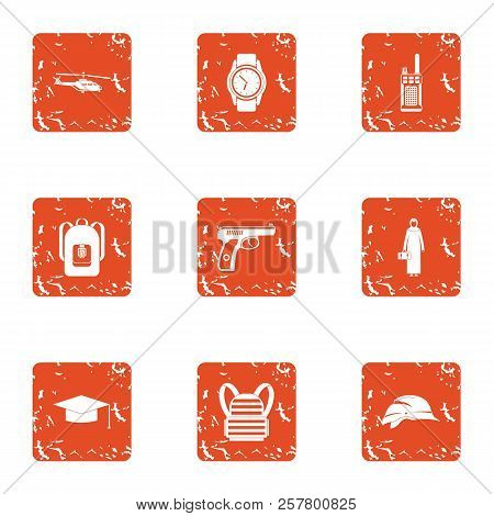 Crime Challenge Icons Set. Grunge Set Of 9 Crime Challenge Icons For Web Isolated On White Backgroun