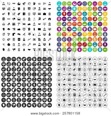 100 Office Clerk Icons Set In 4 Variant For Any Web Design Isolated On White