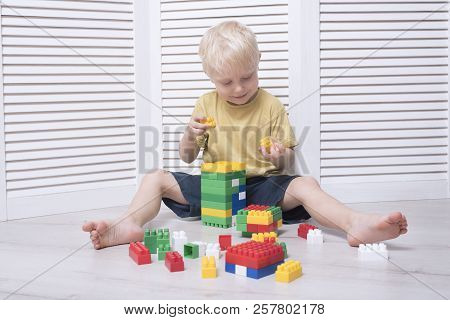 Little Blond Boy Is Building Of Colored Designer