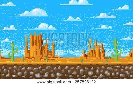 Landscape Background, Pixel Art, 8-bit Game Digital Vintage Style. Interface For The Application Or