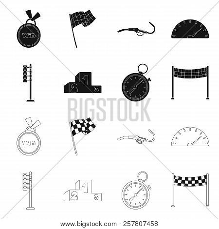 Vector Illustration Of Car And Rally Logo. Collection Of Car And Race Stock Vector Illustration.