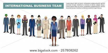 Group Of Business Men And Women, Working People Standing Together On White Background. Business Team