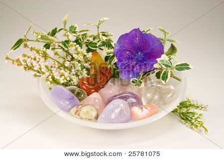 Differnt Gemstones With Blossoms For Therapy