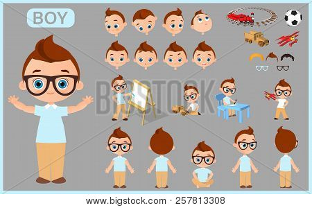 Cartoon Character Boy Constructor Creation Mascot Kit. Set With Positions, Haircuts, Emotions. Isola