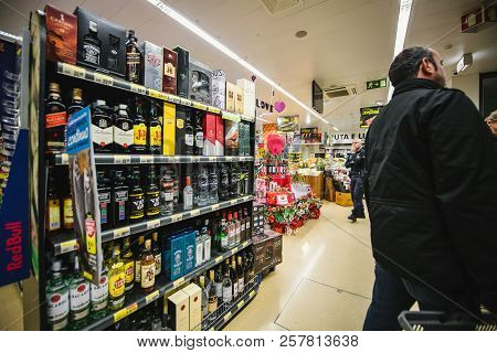 Lisbon, Portugal - Feb 10, 2018: View Of Supermarket Section With Alcoholic Drinks On Shelves In Lis