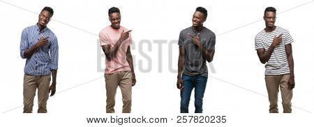 Collage of african american man wearing different outfits cheerful with a smile of face pointing with hand and finger up to the side with happy and natural expression on face looking at the camera.