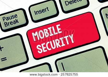 Handwriting Text Writing Mobile Security. Concept Meaning Protection Of Mobile Phone From Threats An