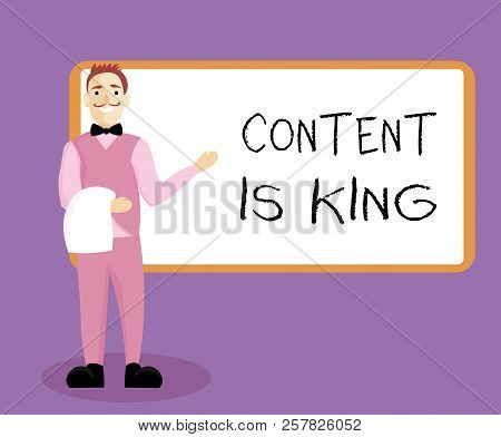 Writing Note Showing Content Is King. Business Photo Showcasing Content Is The Heart Of Today S Mark