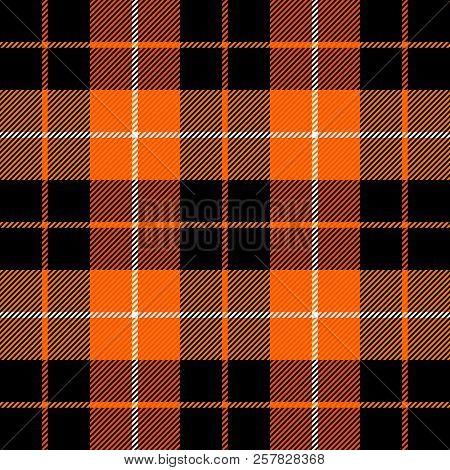 Halloween Tartan Plaid. Scottish Pattern In Orange, Black, Gray And White Cage. Scottish Cage. Tradi