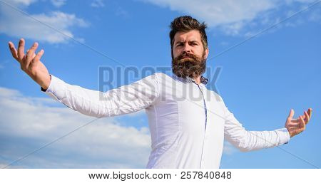 Guy Enjoy Top Achievement. Man Bearded Hipster Formal Clothes Feels Proud Of Himself Sky Background.