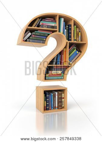 Searching information or FAQ concept. Bookshelves with books and textbooks in the shape of question mark, 3d illustration