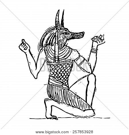 God Of The Dead Anubis In The Netherworld. Egyptian Bas-relief (sketch).