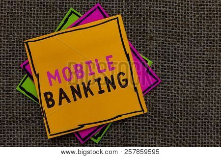 Text Sign Showing Mobile Banking. Conceptual Photo Monitoring Account Balances Transferring Funds Bi