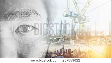 Double Exposure, Eye With Futuristic Technology And Buildings Construction And Cityscape. Artificial
