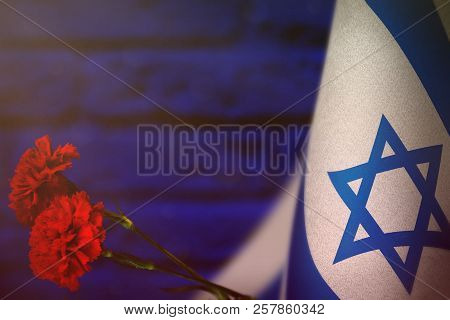 Israel Flag With Two Red Carnation Flowers For Honour Of Veterans Or Memorial Day On Blue Blurred Pa