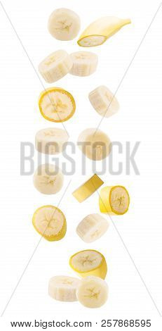 Falling Banana Isolated On White Background With Clipping Path