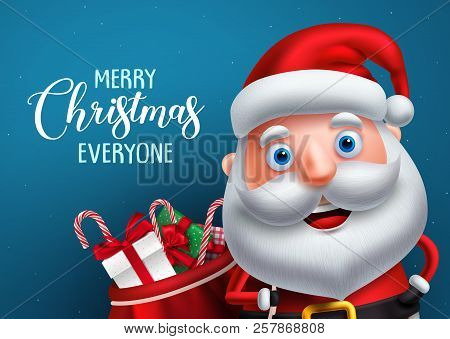 Santa Claus Vector Character And Merry Christmas Greeting In A Blue Background Banner. Santa Claus C