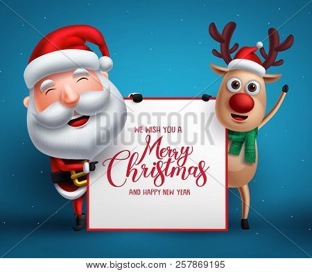 Merry Christmas Greeting Template With Santa Claus And Reindeer Vector Characters Holding Empty Whit