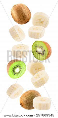 Falling Banana And Kiwi Isolated On White Background