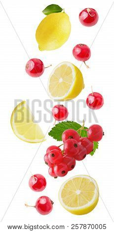 Flying Lemon And Berries Isolated On White Background