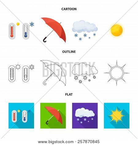 Vector Design Of Weather And Weather Logo. Collection Of Weather And Application Stock Symbol For We