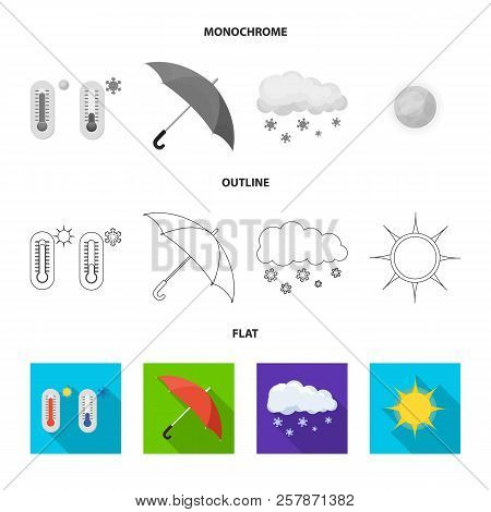 Vector Illustration Of Weather And Weather Symbol. Collection Of Weather And Application Stock Symbo