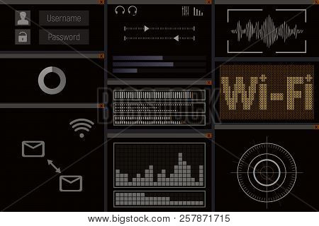Pc Software With Wi-fi. Screen Vector Illustration. Web Hacker. Security Software.