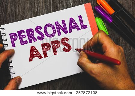 Conceptual Hand Writing Showing Personal Apps. Business Photo Text Organizer Online Calendar Private