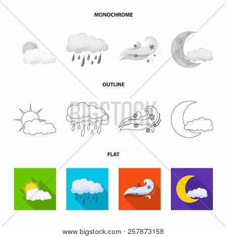 Vector Illustration Of Weather And Weather Sign. Set Of Weather And Application Stock Symbol For Web