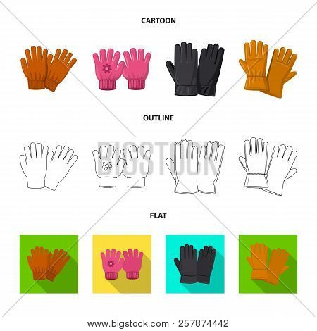 Vector Illustration Of Glove And Winter Sign. Set Of Glove And Equipment Vector Icon For Stock.