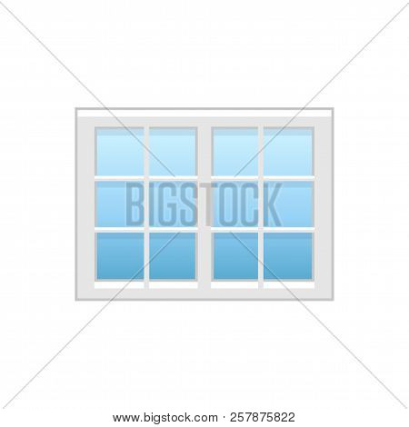 Vector Illustration Of Vinyl Casement Or Sash French Window. Flat Icon Of Traditional Aluminum Windo
