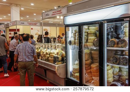 Thessaloniki, Greece - September 10 2018: Greek Dairy Products On Display During 83rd International