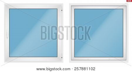 Set Of Metal Plastic Pvc Window With One Sash And Opening Casement. Indoor And Outdoor View. Present