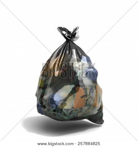 Close Up Of A Garbage Bag 3d Render On White Background With Clipping Path