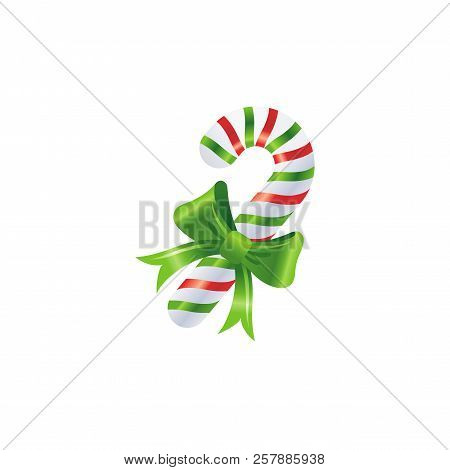 Vector Illustration Of 3d Realistic Xmas Symbol. Cute Striped Candy Cane With Bow. Merry Christmas A
