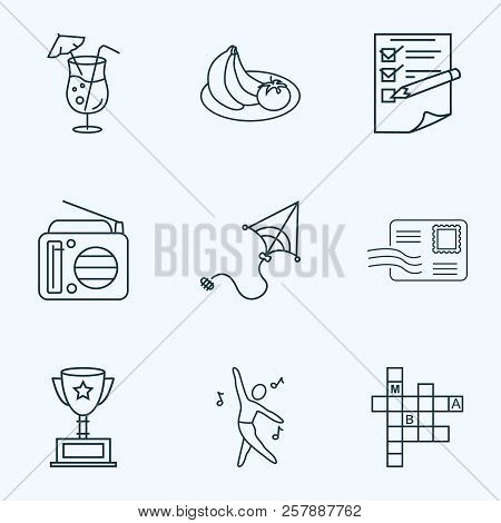 Entertainment Icons Line Style Set With Dancing, Postcrossing, Award Cup And Other Fm Elements. Isol