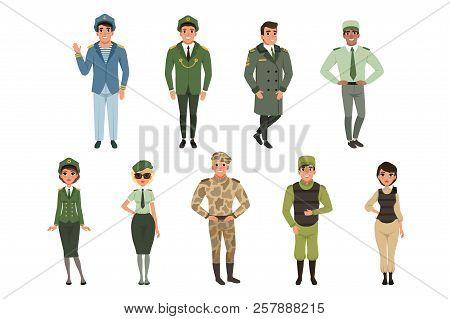 Military Uniforms Set, Military Army Officer, Commander, Soldier, , Pilot, Trooper, Navy Captain Vec
