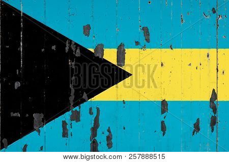 National Flag Of Bahamas On The Background Of An Old Mettale Covered With Peeling Paint
