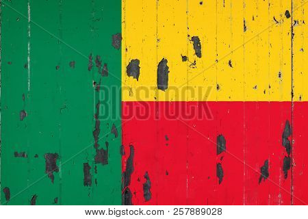 National Flag Of Benin On The Background Of An Old Mettale Covered With Peeling Paint