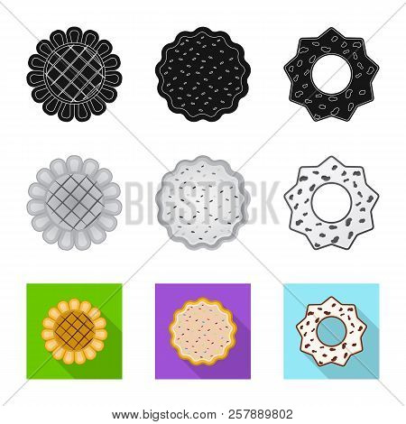 Vector Illustration Of Biscuit And Bake Sign. Set Of Biscuit And Chocolate Stock Vector Illustration