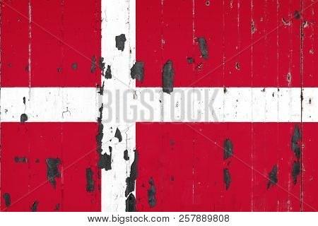 National Flag Of Denmark On The Background Of An Old Mettale Covered With Peeling Paint