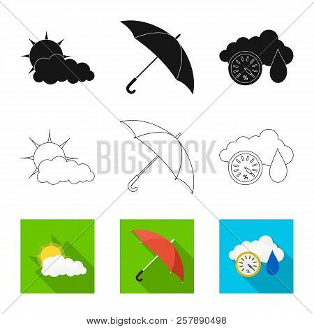 Vector Design Of Weather And Weather Logo. Collection Of Weather And Application Stock Vector Illust