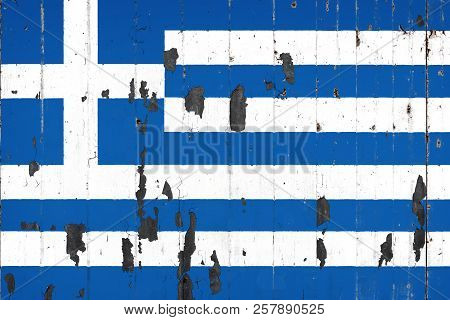 National Flag Of Greece On The Background Of An Old Mettale Covered With Peeling Paint
