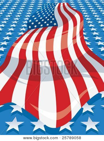 10x13 Vector Background of an American Flag among stars